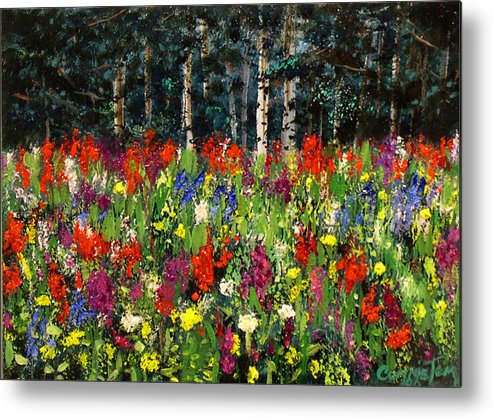 A Painting A Day Metal Print featuring the painting Colorado Rockies Wildflowers by Connie Tom