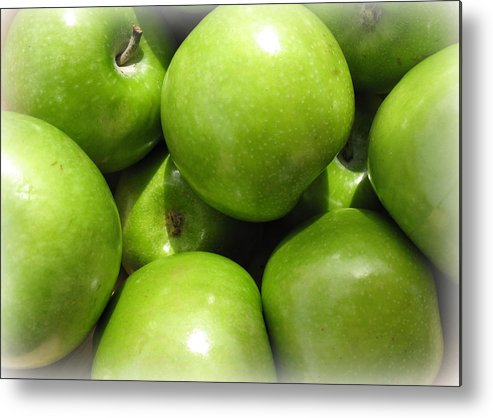 Fruits Metal Print featuring the photograph Crispy Green Apples From The Farmers Market by Trude Janssen