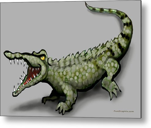 Crocodile Metal Print featuring the greeting card Crocodile by Kevin Middleton