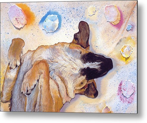 Sleeping Dog Metal Print featuring the painting Dog Dreams by Pat Saunders-White