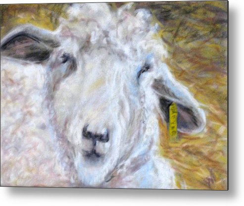 Sheep Metal Print featuring the pastel Ear Tag by Wendie Thompson