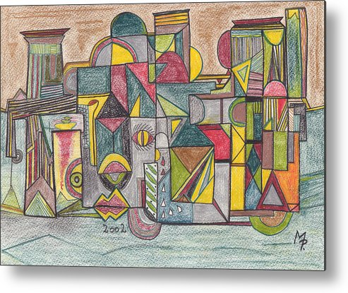 Egypt Metal Print featuring the drawing Egyptian Fascination by Michael Puya