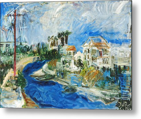 Town Houses Trees Palmtrees Street Blue Sky Metal Print featuring the painting Famagusta by Joan De Bot