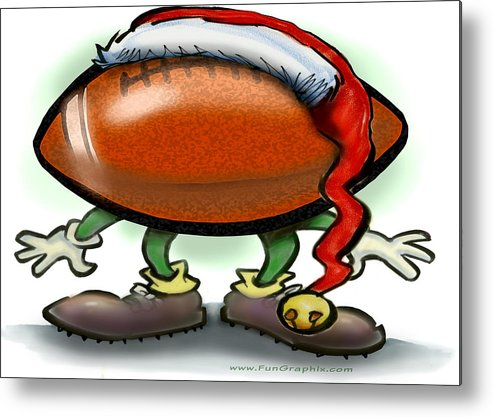 Football Metal Print featuring the greeting card Football Christmas by Kevin Middleton