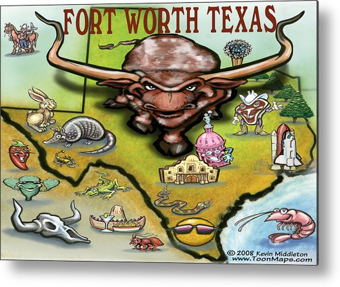 Fort Worth Metal Print featuring the greeting card Fort Worth Texas Cartoon Map by Kevin Middleton