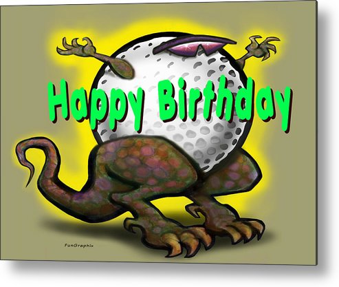 Golf Metal Print featuring the greeting card Golf A Saurus Birthday by Kevin Middleton