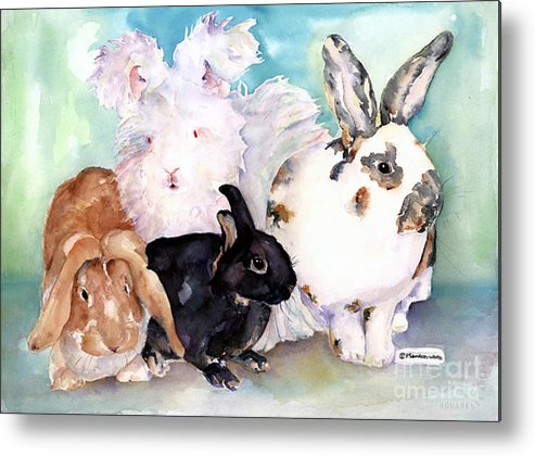 Animal Artwork Metal Print featuring the painting Good Hare Day by Pat Saunders-White