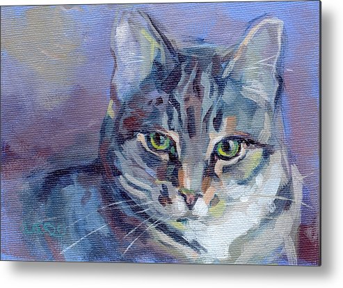 Tabby Cat Metal Print featuring the painting Green Eyed Tabby - Thomasina by Kimberly Santini