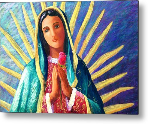 Guadalupe Metal Print featuring the pastel Guadalupe With Rose by Candy Mayer