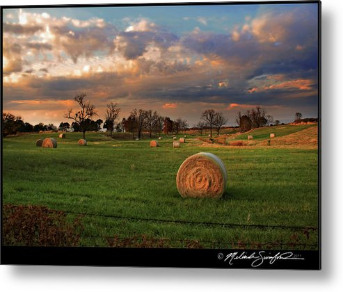Landscape Metal Print featuring the photograph Haybales At Dusk by Melinda Swinford