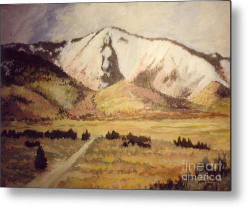Landscape Metal Print featuring the painting Horse Head Mountain by JoAnne Corpany