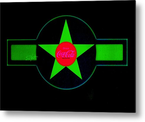 Label Metal Print featuring the painting Hot Red On Cool Green by Charles Stuart