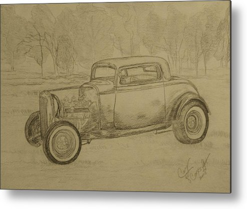 Antique Car Metal Print featuring the painting Hotrod 1934 Ford Coupe by Cary Singewald