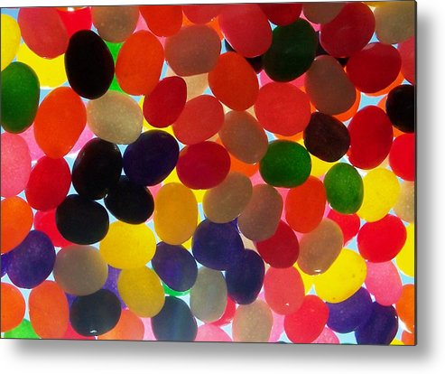 Candy Rainbow Treat Colorful Jellybean Metal Print featuring the photograph Jellybeans by Anna Villarreal Garbis