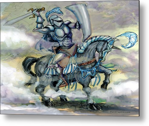 Knight Metal Print featuring the greeting card Knight by Kevin Middleton
