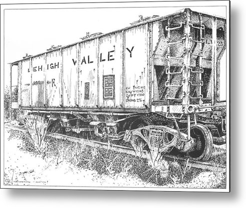 Pen And Ink Metal Print featuring the drawing Lehigh Valley Coal Car by Peter Muzyka