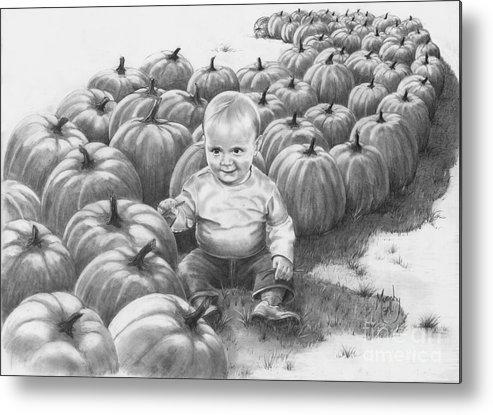 Charity Metal Print featuring the drawing Little Pumpkin by Murphy Elliott