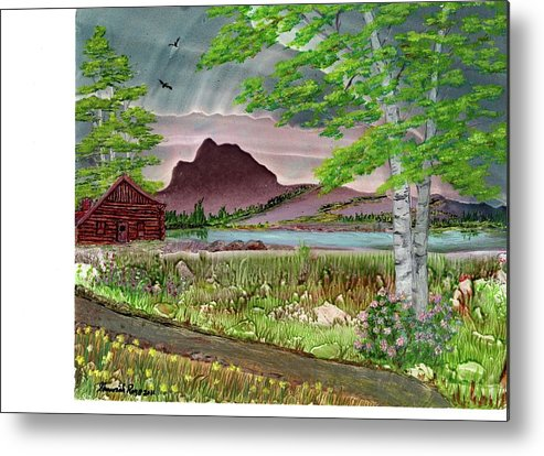 Water Metal Print featuring the painting Log Cabin by Shawnah Roy
