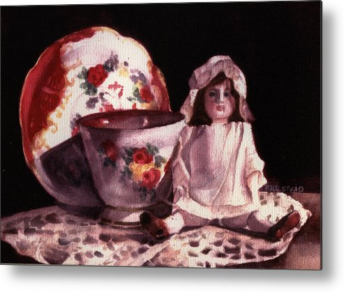 Watercolor Metal Print featuring the painting Mama's Doll by Patricia Halstead