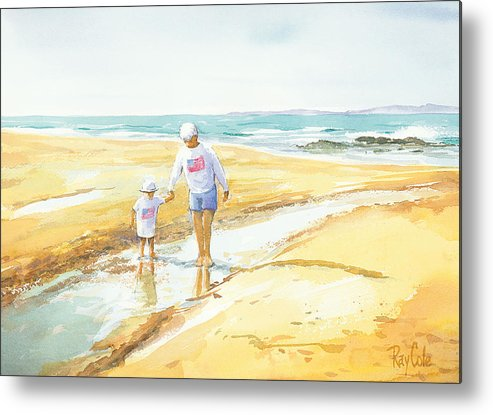 Grandma And Grandaughter Walking Metal Print featuring the painting Mary And Sophia by Ray Cole