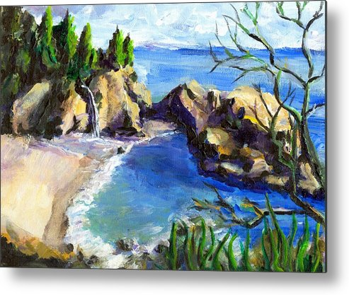 Waterfall Metal Print featuring the painting Mikes Beach by Randy Sprout