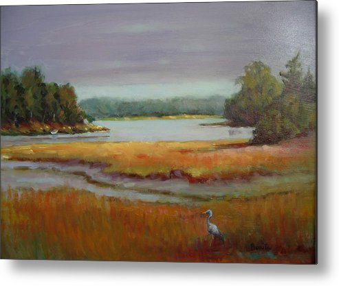 Maine Metal Print featuring the painting Morning In The Salt Marsh by Bonita Waitl