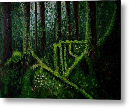 Forest Metal Print featuring the painting Moss-covered Roots by Mats Eriksson