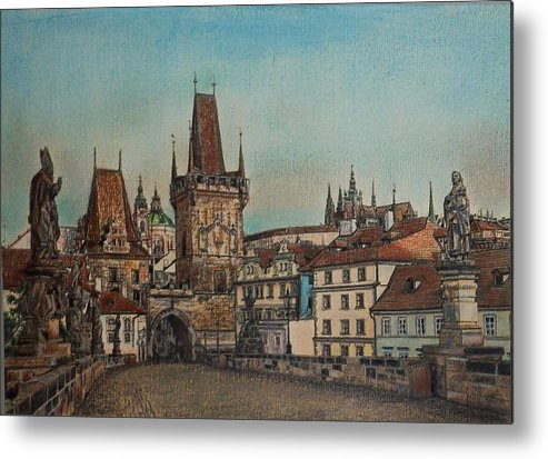 Praha Metal Print featuring the drawing Na Karlovem Moste by Gordana Dokic Segedin