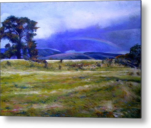 Tasmanian Landscapes Metal Print featuring the painting Northeast Tasmania Australia 1995 by Enver Larney