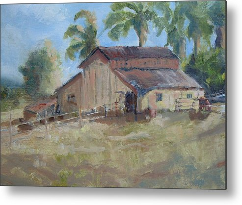 Old Barns; Horse Stables Landscape In Plein-air Metal Print featuring the painting Old Yeller by Bryan Alexander