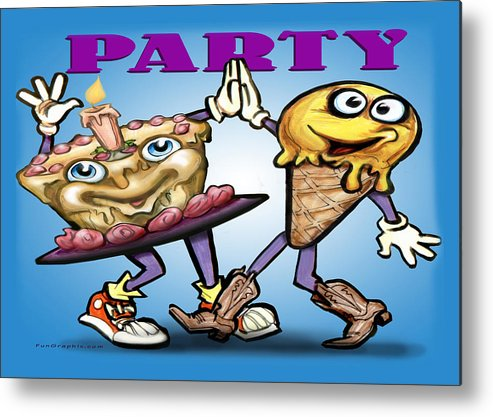 Party Metal Print featuring the greeting card Party by Kevin Middleton
