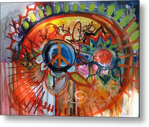 Peace Metal Print featuring the painting Peace Flower by Lili Lovemonster