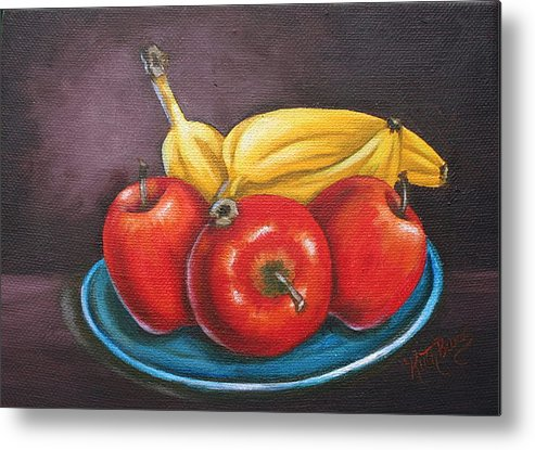 Banana Metal Print featuring the painting Platter Of Fruit by Ruth Bares