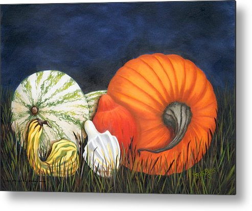 Pumpkin Metal Print featuring the painting Pumpkin And Gourds by Ruth Bares