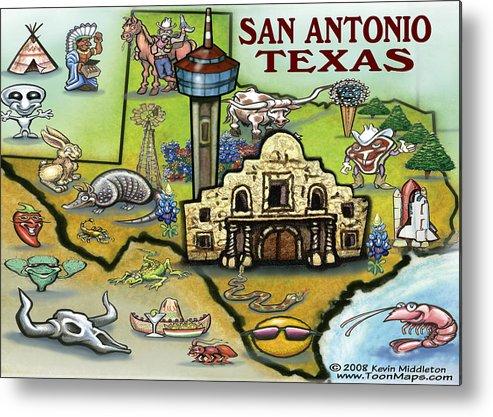 San Antonio Metal Print featuring the digital art San Antonio Texas by Kevin Middleton