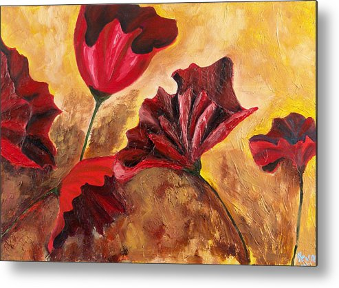 Flowers Metal Print featuring the painting Second Passion by Helene Lagoudakis