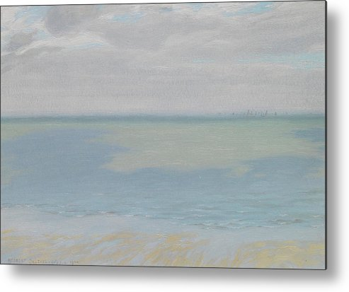 Study; Sky; Sea; Seascape; Horizon; Impressionistic; Water; Clouds; Sketch; Impressionism Metal Print featuring the painting Study Of Sky And Sea by Herbert Dalziel