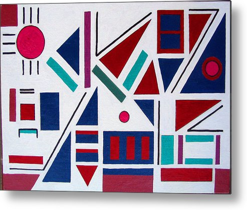 Abstract Metal Print featuring the painting Symmetry In Blue Or Red by Marco Morales