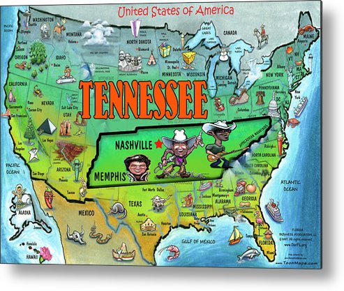 Tennessee Usa Cartoon Map Metal Print by Kevin Middleton