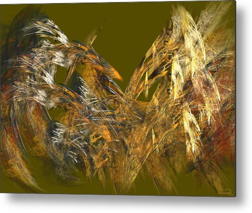 Abstract Metal Print featuring the painting The Flight Of The Bird by Emma Alvarez