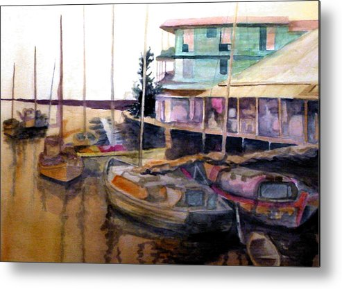Marina Metal Print featuring the painting The Marina by Jim Phillips