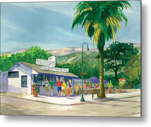 Famous Burger Joint Metal Print featuring the painting The Spot by Ray Cole