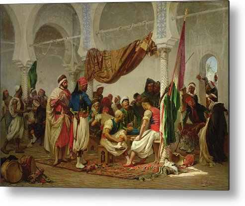 The Turkish Cafe Metal Print featuring the painting The Turkish Cafe by Charles Marie Lhuillier