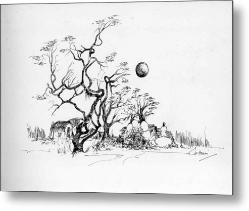Landscape Metal Print featuring the drawing Trees Rocks And A Ball by Padamvir Singh