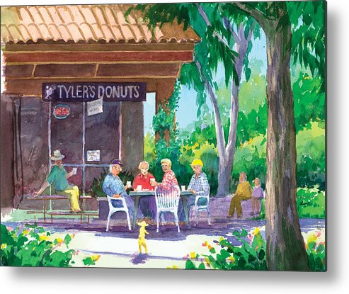 Old Men Metal Print featuring the painting Tylers Donuts by Ray Cole