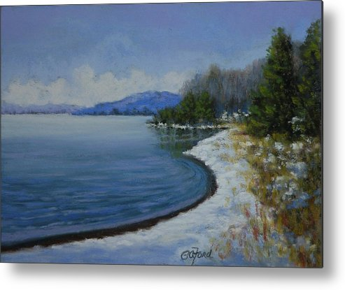 Pastel Metal Print featuring the painting Winter At The Lake by Paula Ann Ford