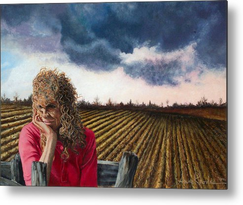 Landscape Metal Print featuring the painting Woman By A Plowed Field by Anne Rhodes