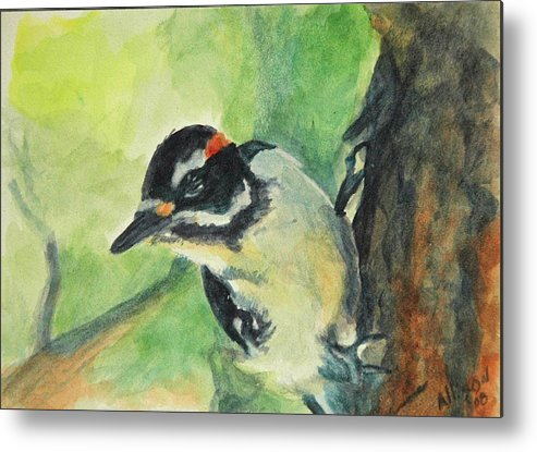 Wildlife Metal Print featuring the painting Woodpecker by Stephanie Allison