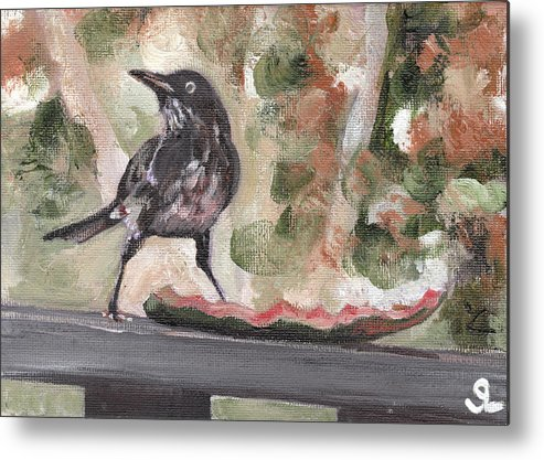 Puerto Rico Metal Print featuring the painting Yellow Eyed Bird by Sarah Lynch