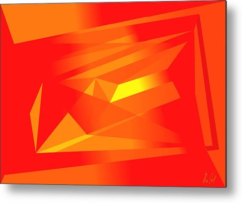 Red Metal Print featuring the digital art Yellow In Red by Helmut Rottler